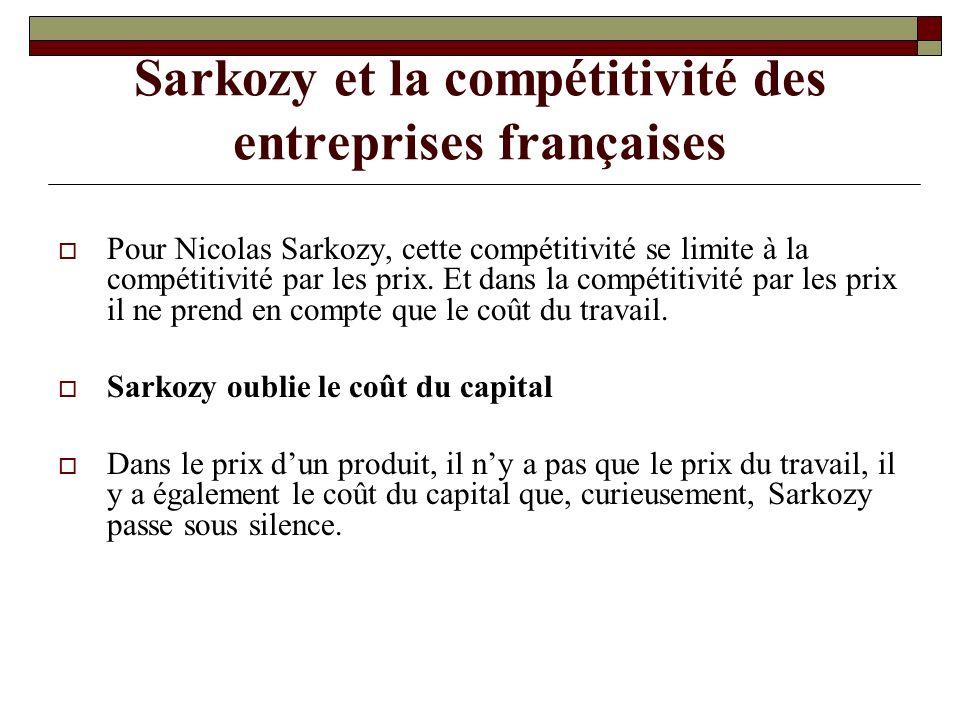 Sarkozy et la compétitivité des entreprises françaises Pour Nicolas Sarkozy, cette compétitivité se limite à la compétitivité par les prix.