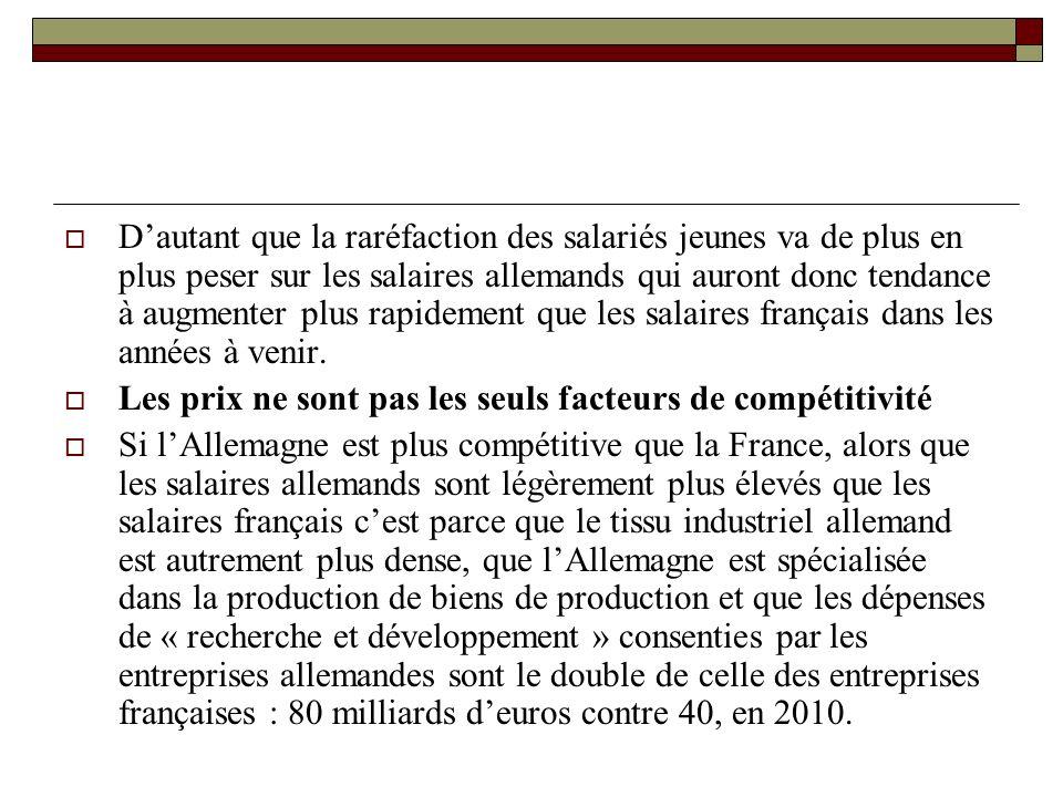 Dautant que la raréfaction des salariés jeunes va de plus en plus peser sur les salaires allemands qui auront donc tendance à augmenter plus rapidement que les salaires français dans les années à venir.