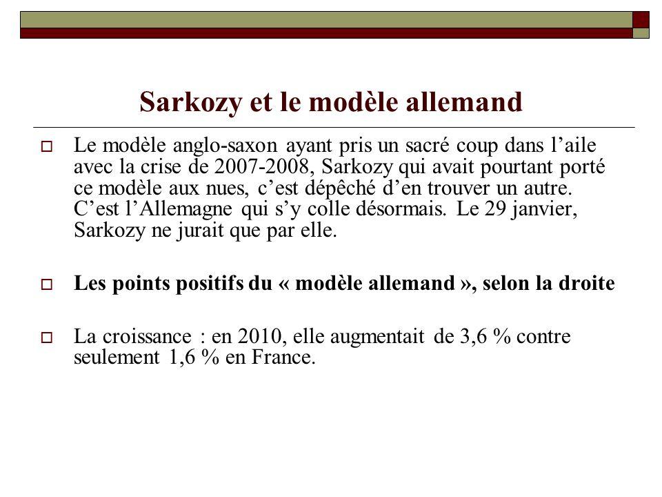 Sarkozy et le modèle allemand Le modèle anglo-saxon ayant pris un sacré coup dans laile avec la crise de 2007-2008, Sarkozy qui avait pourtant porté ce modèle aux nues, cest dépêché den trouver un autre.