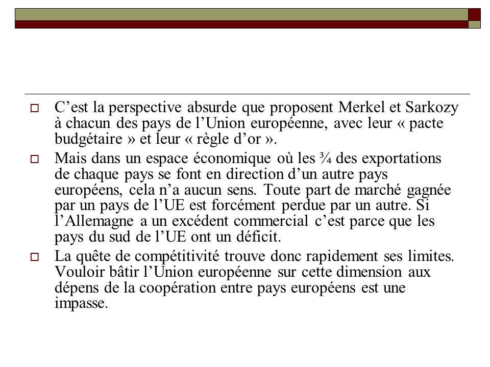 Cest la perspective absurde que proposent Merkel et Sarkozy à chacun des pays de lUnion européenne, avec leur « pacte budgétaire » et leur « règle dor ».