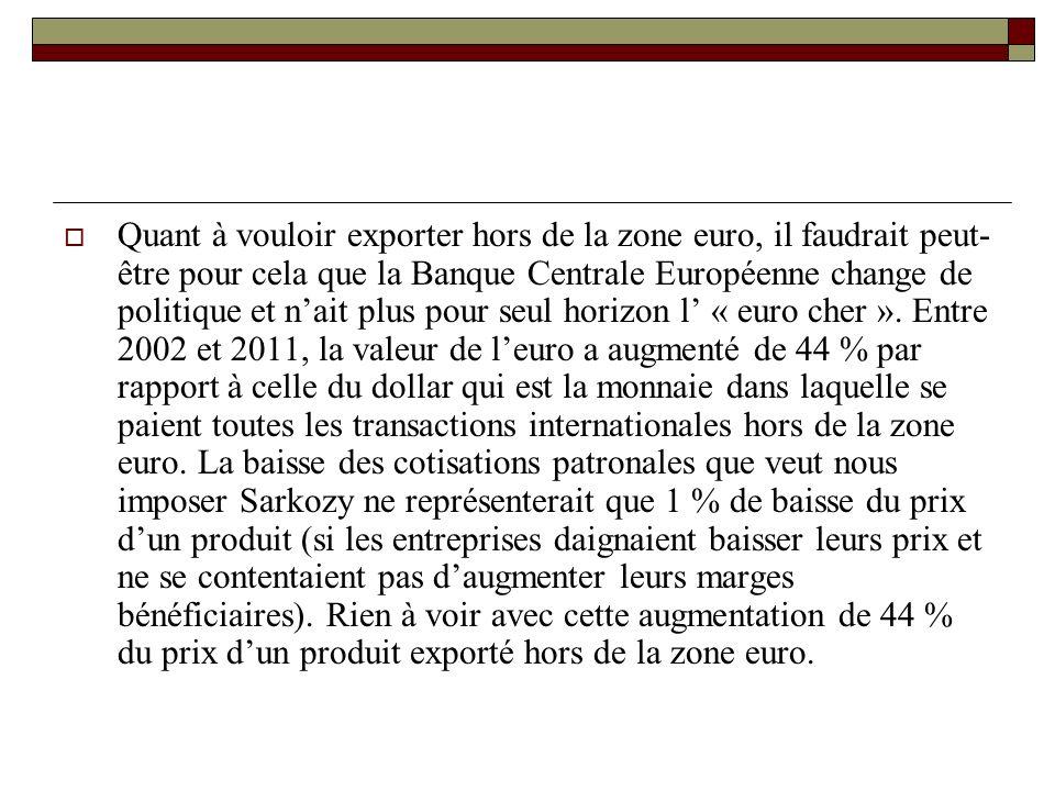 Quant à vouloir exporter hors de la zone euro, il faudrait peut- être pour cela que la Banque Centrale Européenne change de politique et nait plus pour seul horizon l « euro cher ».
