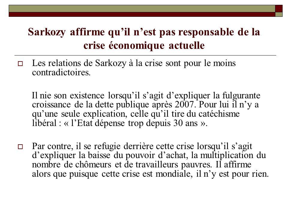 Sarkozy affirme quil nest pas responsable de la crise économique actuelle Les relations de Sarkozy à la crise sont pour le moins contradictoires.
