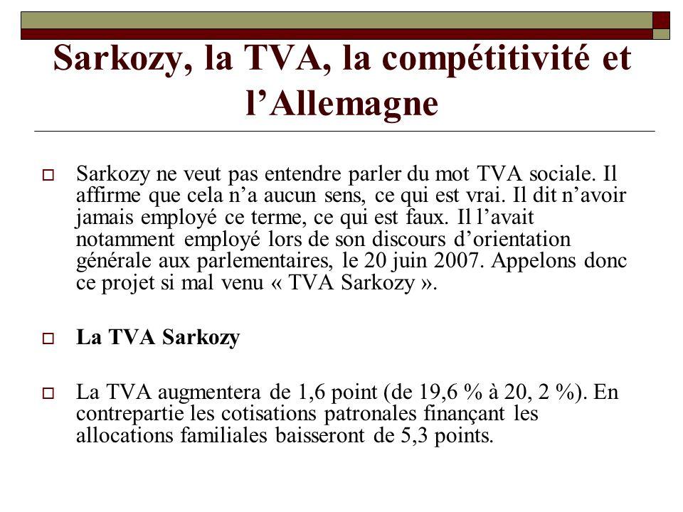 Sarkozy, la TVA, la compétitivité et lAllemagne Sarkozy ne veut pas entendre parler du mot TVA sociale.