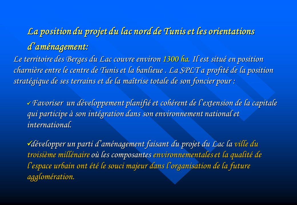La position du projet du lac nord de Tunis et les orientations daménagement: Le territoire des Berges du Lac couvre environ 1300 ha. Il est situé en p