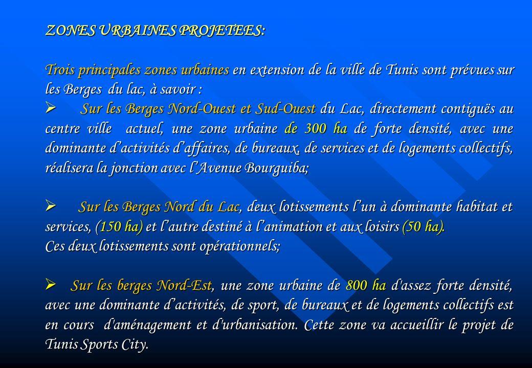 ZONES URBAINES PROJETEES: Trois principales zones urbaines en extension de la ville de Tunis sont prévuessur les Berges du lac, à savoir : Trois princ
