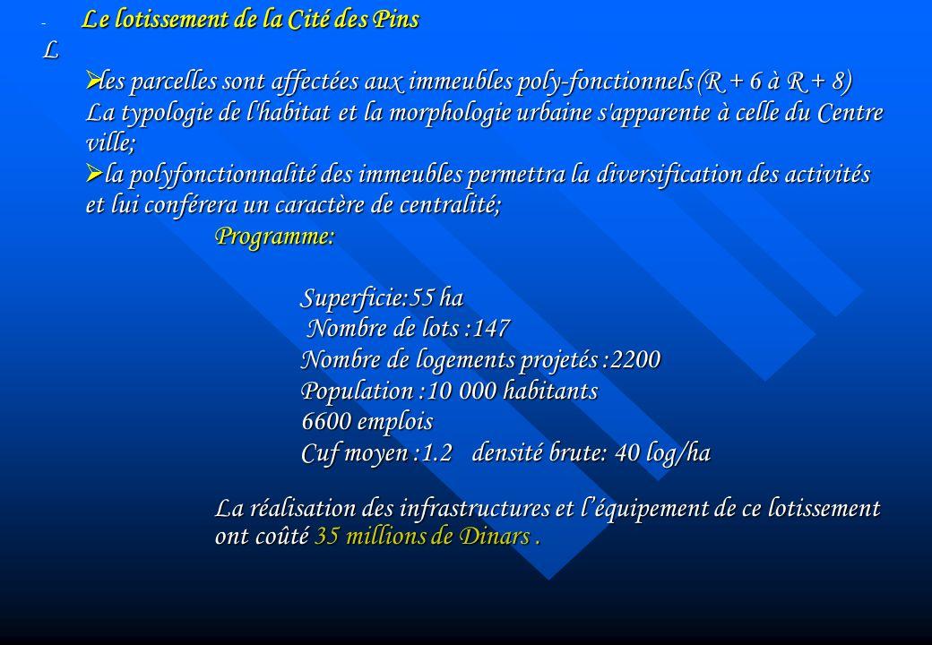 Le lotissement de la Cité des Pins - Le lotissement de la Cité des PinsL les parcelles sont affectées aux immeubles poly-fonctionnels (R + 6 à R + 8)