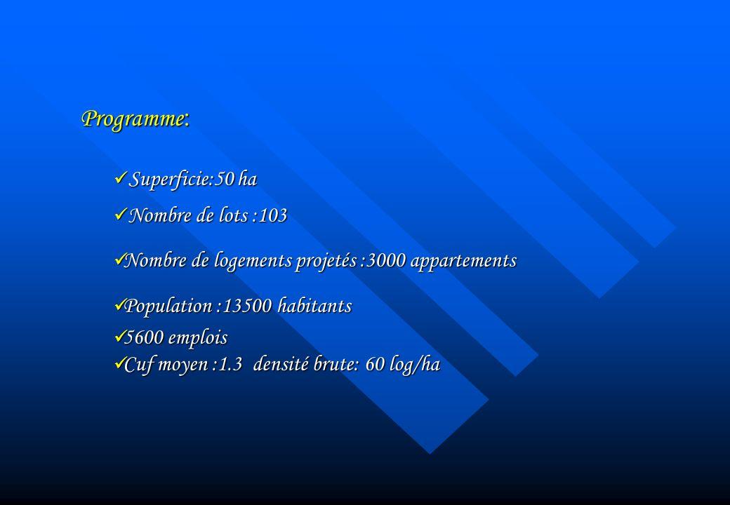 Programme : Superficie:50 ha Superficie:50 ha Nombre de lots :103 Nombre de lots :103 Nombre de logements projetés :3000 appartements Nombre de logeme