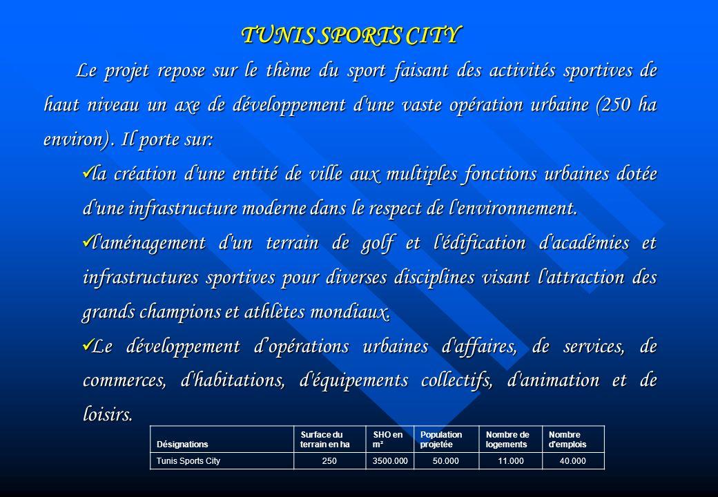 TUNIS SPORTS CITY Le projet repose sur le thème du sport faisant des activités sportives de haut niveau un axe de développement d'une vaste opération