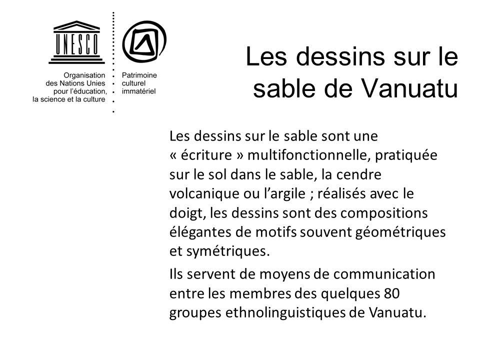 Les dessins sur le sable de Vanuatu Les dessins sur le sable sont une « écriture » multifonctionnelle, pratiquée sur le sol dans le sable, la cendre v