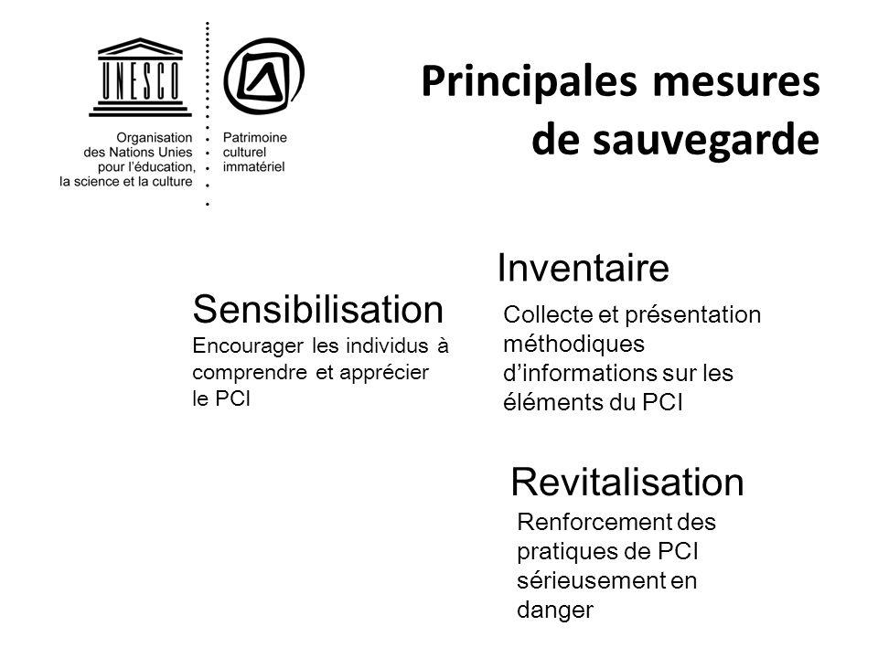 Principales mesures de sauvegarde Inventaire Revitalisation Collecte et présentation méthodiques dinformations sur les éléments du PCI Renforcement de
