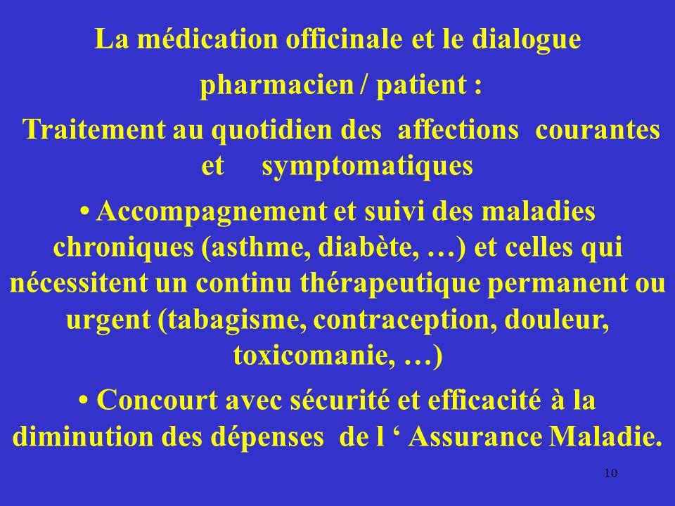 La médication officinale et le dialogue pharmacien / patient : Traitement au quotidien des affections courantes et symptomatiques Accompagnement et su