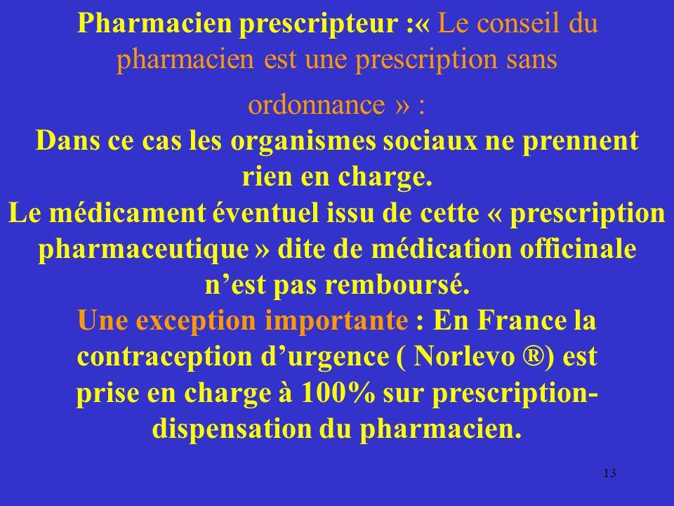 Pharmacien prescripteur :« Le conseil du pharmacien est une prescription sans ordonnance » : Dans ce cas les organismes sociaux ne prennent rien en ch