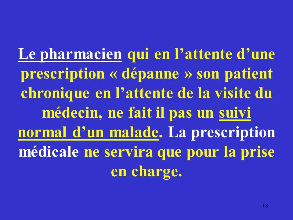 Le pharmacien qui en lattente dune prescription « dépanne » son patient chronique en lattente de la visite du médecin, ne fait il pas un suivi normal
