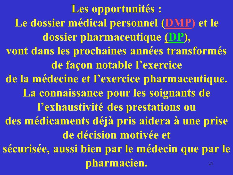 Les opportunités : Le dossier médical personnel (DMP) et le dossier pharmaceutique (DP), vont dans les prochaines années transformés de façon notable