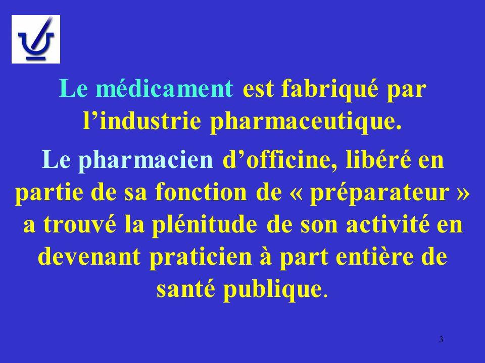 Le médicament est fabriqué par lindustrie pharmaceutique. Le pharmacien dofficine, libéré en partie de sa fonction de « préparateur » a trouvé la plén