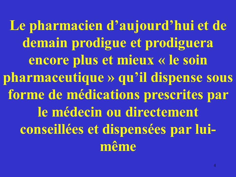 Le pharmacien daujourdhui et de demain prodigue et prodiguera encore plus et mieux « le soin pharmaceutique » quil dispense sous forme de médications