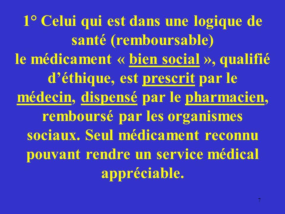 1° Celui qui est dans une logique de santé (remboursable) le médicament « bien social », qualifié déthique, est prescrit par le médecin, dispensé par