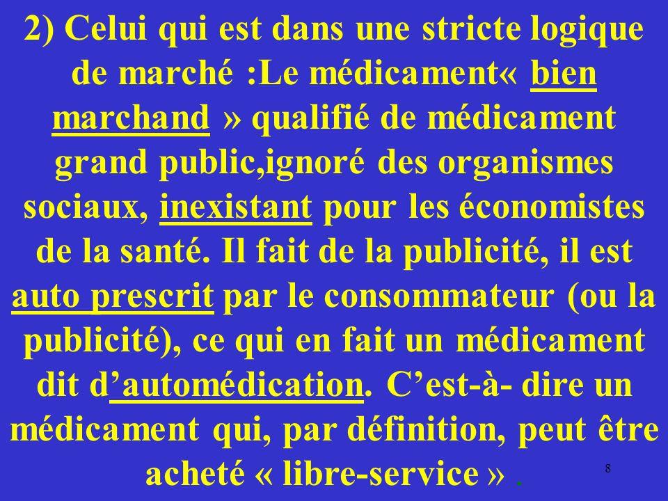 2) Celui qui est dans une stricte logique de marché :Le médicament« bien marchand » qualifié de médicament grand public,ignoré des organismes sociaux,