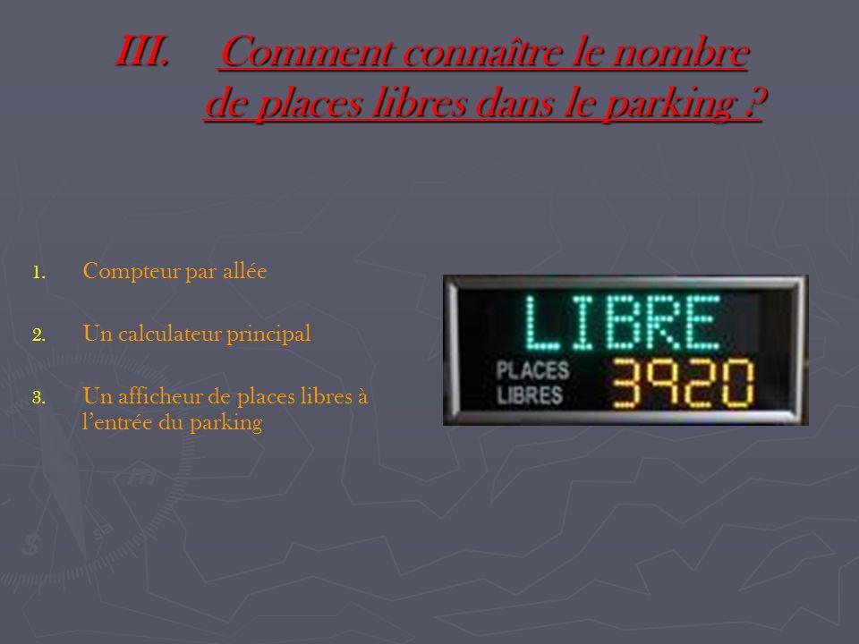 III.Comment connaître le nombre de places libres dans le parking ? 1. 1. Compteur par allée 2. 2. Un calculateur principal 3. 3. Un afficheur de place