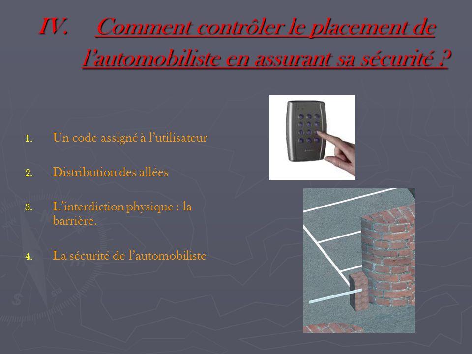 IV.Comment contrôler le placement de lautomobiliste en assurant sa sécurité ? 1. 1. Un code assigné à lutilisateur 2. 2. Distribution des allées 3. 3.