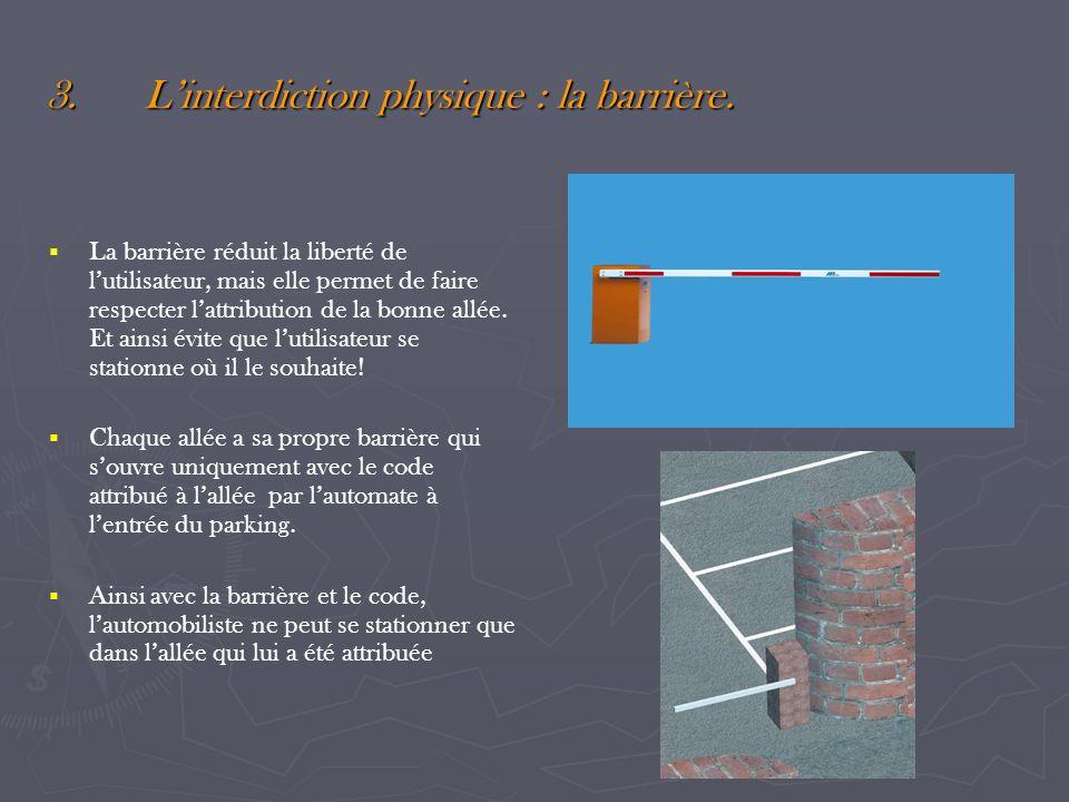 3.Linterdiction physique : la barrière. La barrière réduit la liberté de lutilisateur, mais elle permet de faire respecter lattribution de la bonne al