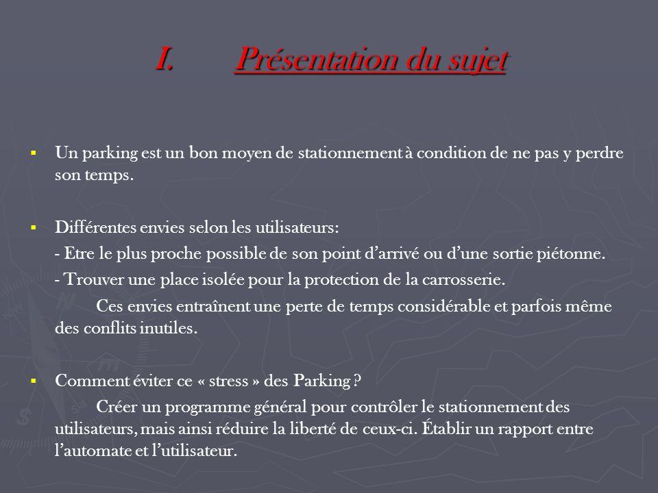 I.Présentation du sujet Un parking est un bon moyen de stationnement à condition de ne pas y perdre son temps. Différentes envies selon les utilisateu