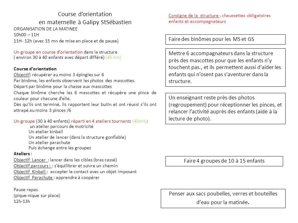 Course dorientation en maternelle à Galipy StSébastien ORGANISATION DE LA MATINEE 10h00 – 11H 11H- 12h (avec 15 mn de mise en place et de pause) Un gr