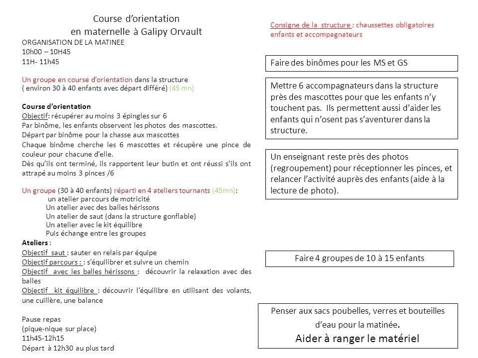 Course dorientation en maternelle à Galipy Orvault ORGANISATION DE LA MATINEE 10h00 – 10H45 11H- 11h45 Un groupe en course dorientation dans la struct