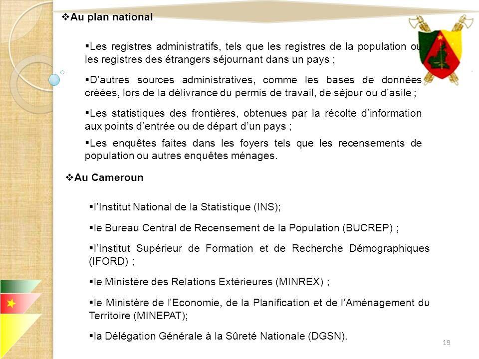 Au plan national Les registres administratifs, tels que les registres de la population ou les registres des étrangers séjournant dans un pays ; Dautre