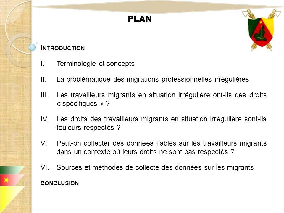 PLAN I NTRODUCTION I.Terminologie et concepts II.La problématique des migrations professionnelles irrégulières III.Les travailleurs migrants en situat
