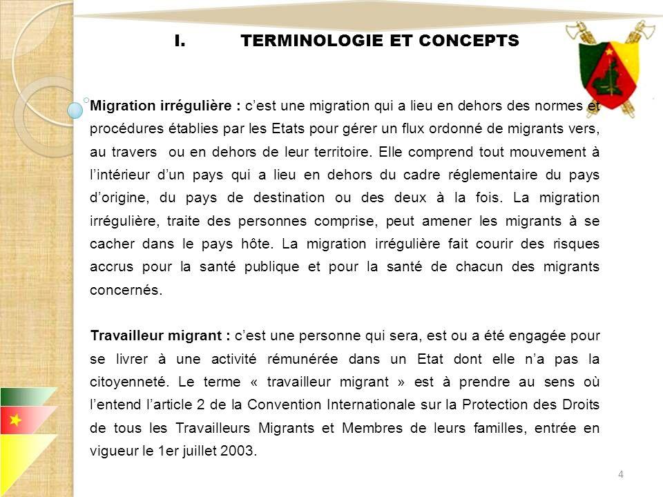 I.TERMINOLOGIE ET CONCEPTS Migration irrégulière : cest une migration qui a lieu en dehors des normes et procédures établies par les Etats pour gérer