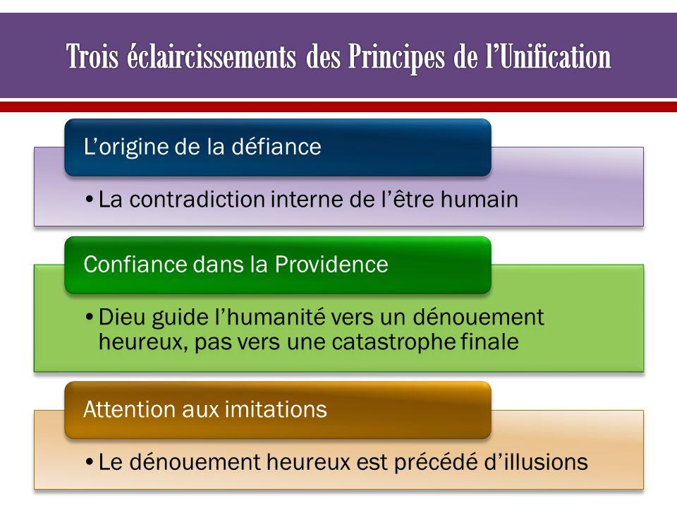 La contradiction interne de lêtre humain Lorigine de la défiance Dieu guide lhumanité vers un dénouement heureux, pas vers une catastrophe finale Conf