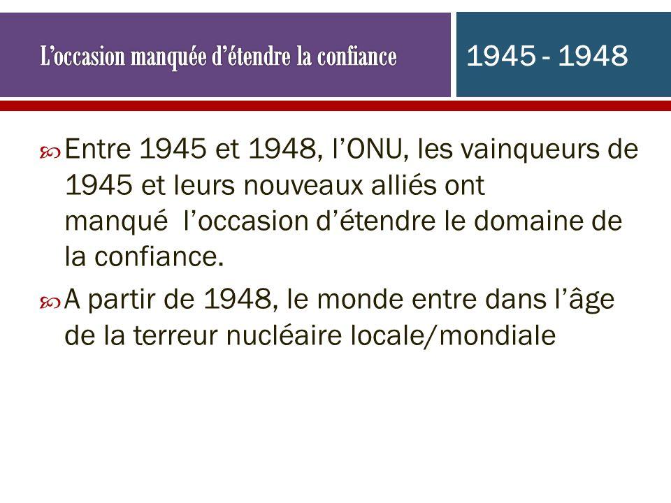 Entre 1945 et 1948, lONU, les vainqueurs de 1945 et leurs nouveaux alliés ont manqué loccasion détendre le domaine de la confiance. A partir de 1948,