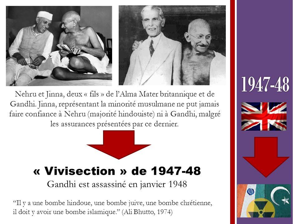 Il y a une bombe hindoue, une bombe juive, une bombe chrétienne, il doit y avoir une bombe islamique. (Ali Bhutto, 1974) Nehru et Jinna, deux « fils »