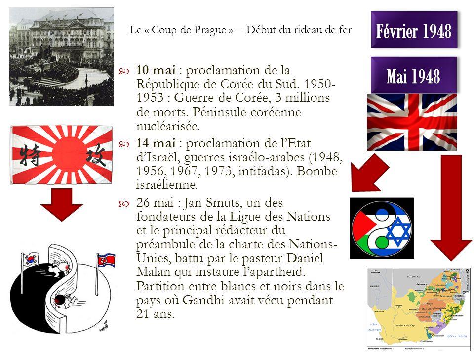 10 mai : proclamation de la République de Corée du Sud. 1950- 1953 : Guerre de Corée, 3 millions de morts. Péninsule coréenne nucléarisée. 14 mai : pr