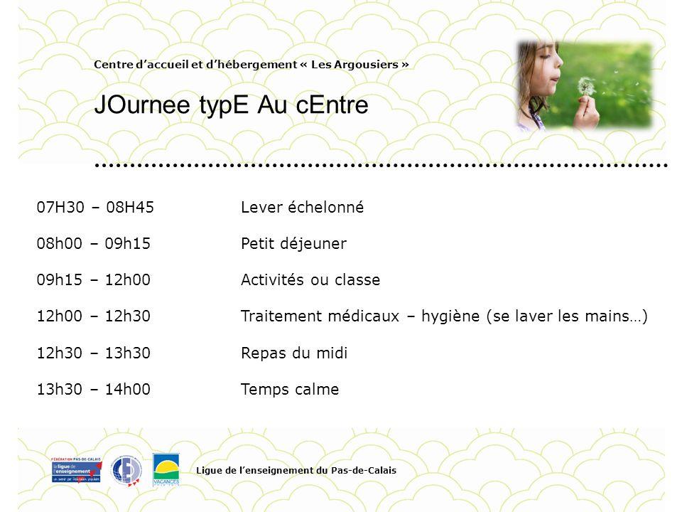 Centre daccueil et dhébergement « Les Argousiers » JOurnee typE Au cEntre Ligue de lenseignement du Pas-de-Calais Pour personnaliser la date et le tit
