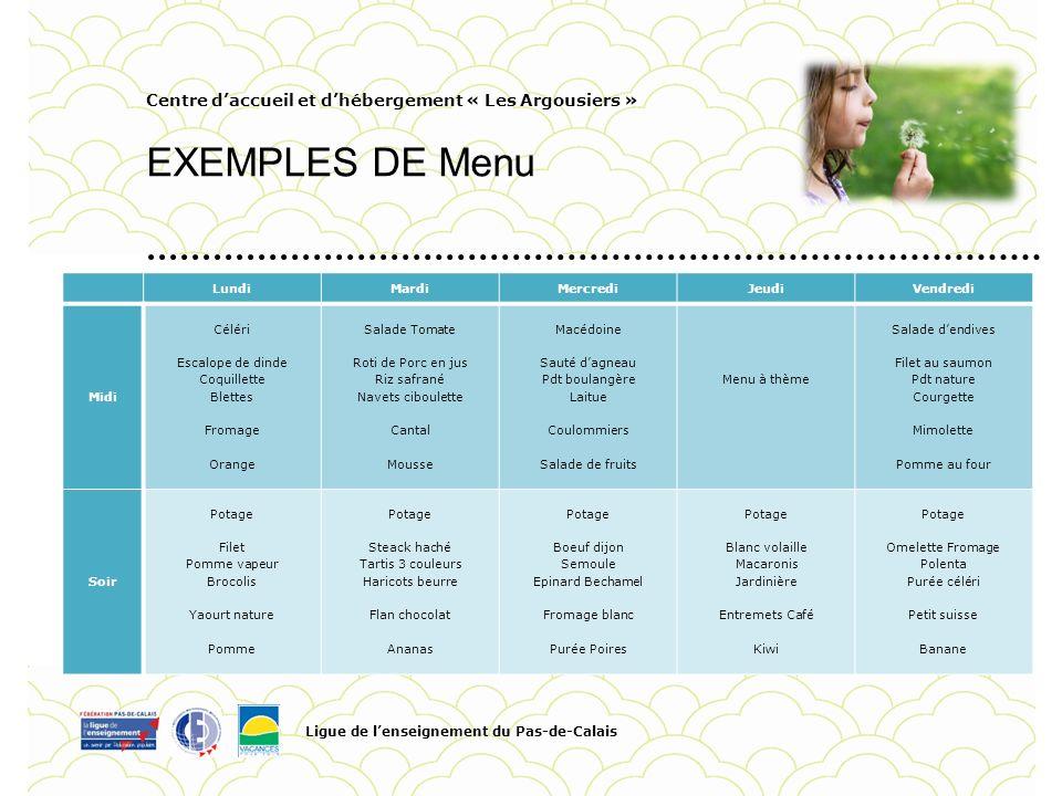 Centre daccueil et dhébergement « Les Argousiers » EXEMPLES DE Menu Ligue de lenseignement du Pas-de-Calais Pour personnaliser la date et le titre du