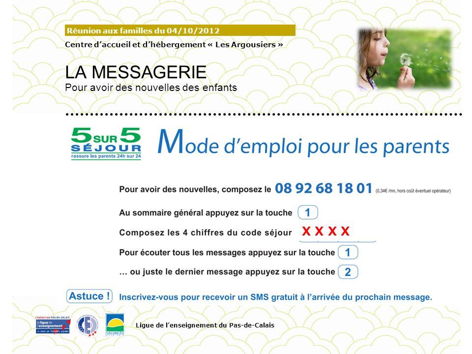 Réunion aux familles du 04/10/2012 Centre daccueil et dhébergement « Les Argousiers » LA MESSAGERIE Pour avoir des nouvelles des enfants Ligue de lens