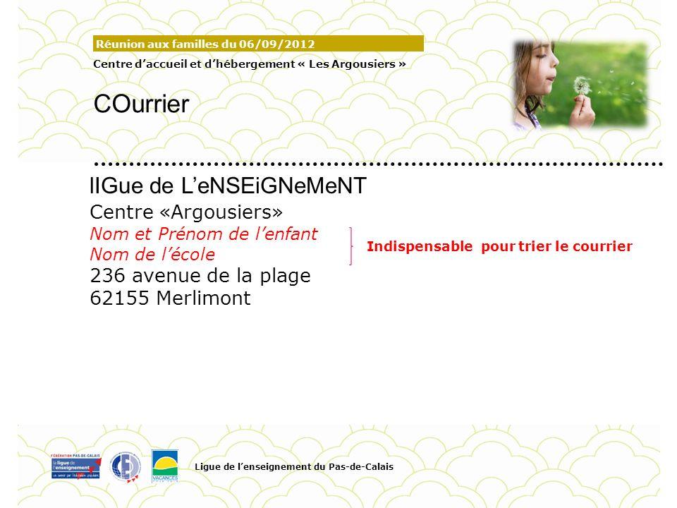 Réunion aux familles du 06/09/2012 Centre daccueil et dhébergement « Les Argousiers » COurrier Ligue de lenseignement du Pas-de-Calais Pour personnali
