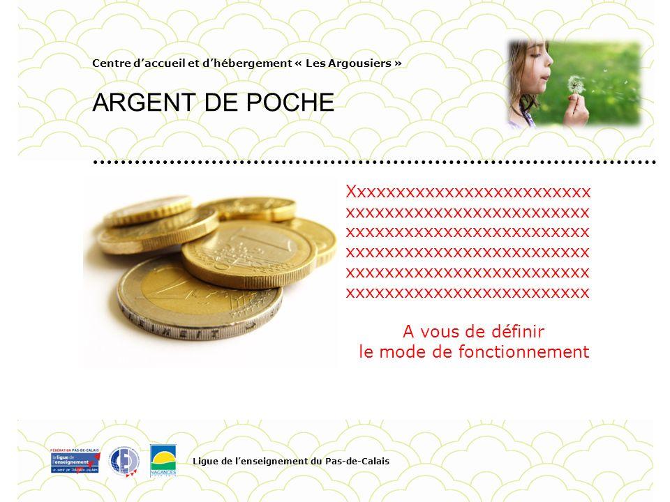 Centre daccueil et dhébergement « Les Argousiers » ARGENT DE POCHE Ligue de lenseignement du Pas-de-Calais Pour personnaliser la date et le titre du P