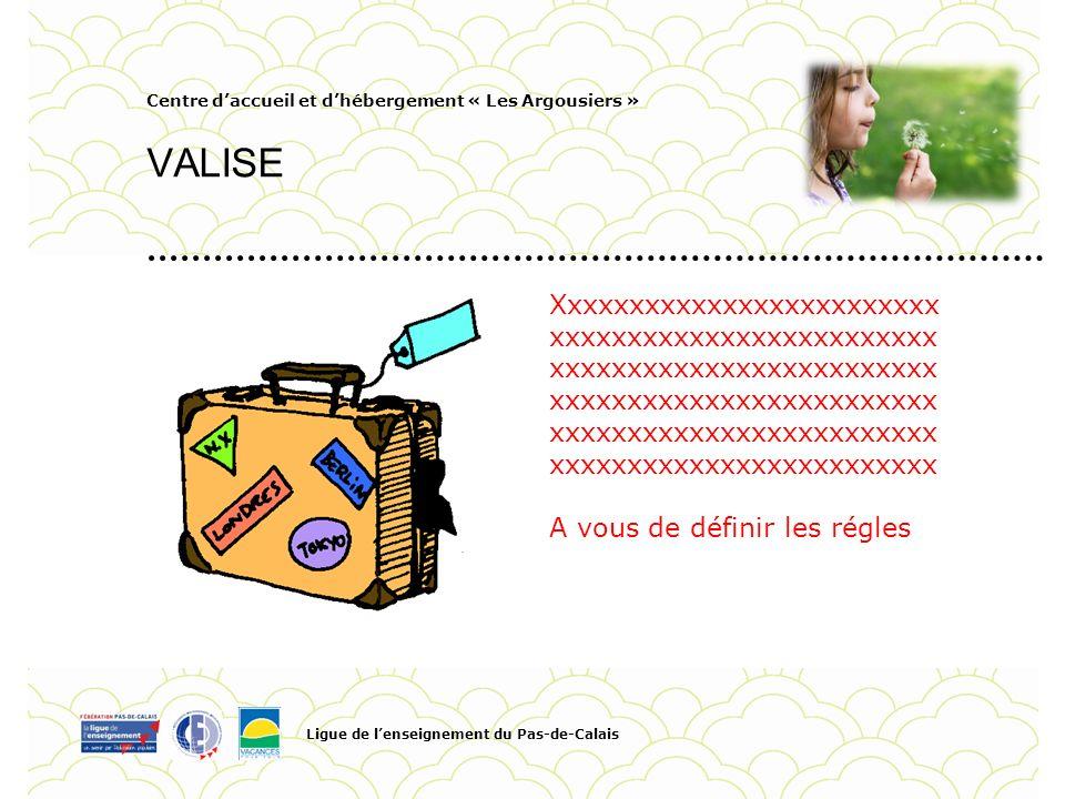 Centre daccueil et dhébergement « Les Argousiers » VALISE Ligue de lenseignement du Pas-de-Calais Pour personnaliser la date et le titre du Pied de pa
