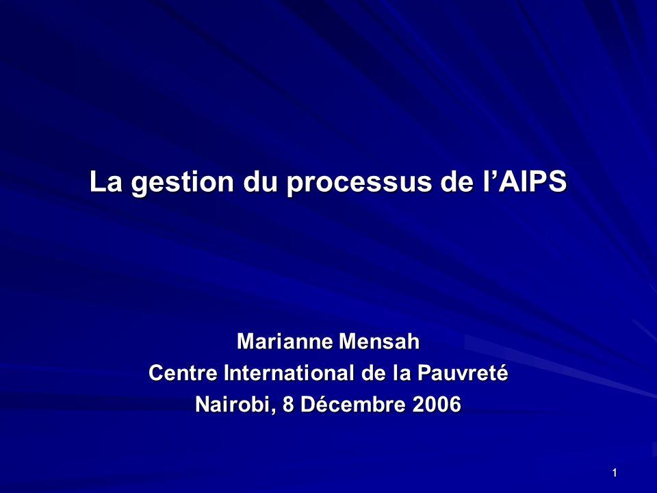 1 La gestion du processus de lAIPS Marianne Mensah Centre International de la Pauvreté Nairobi, 8 Décembre 2006