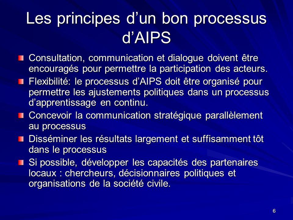6 Les principes dun bon processus dAIPS Consultation, communication et dialogue doivent être encouragés pour permettre la participation des acteurs. F