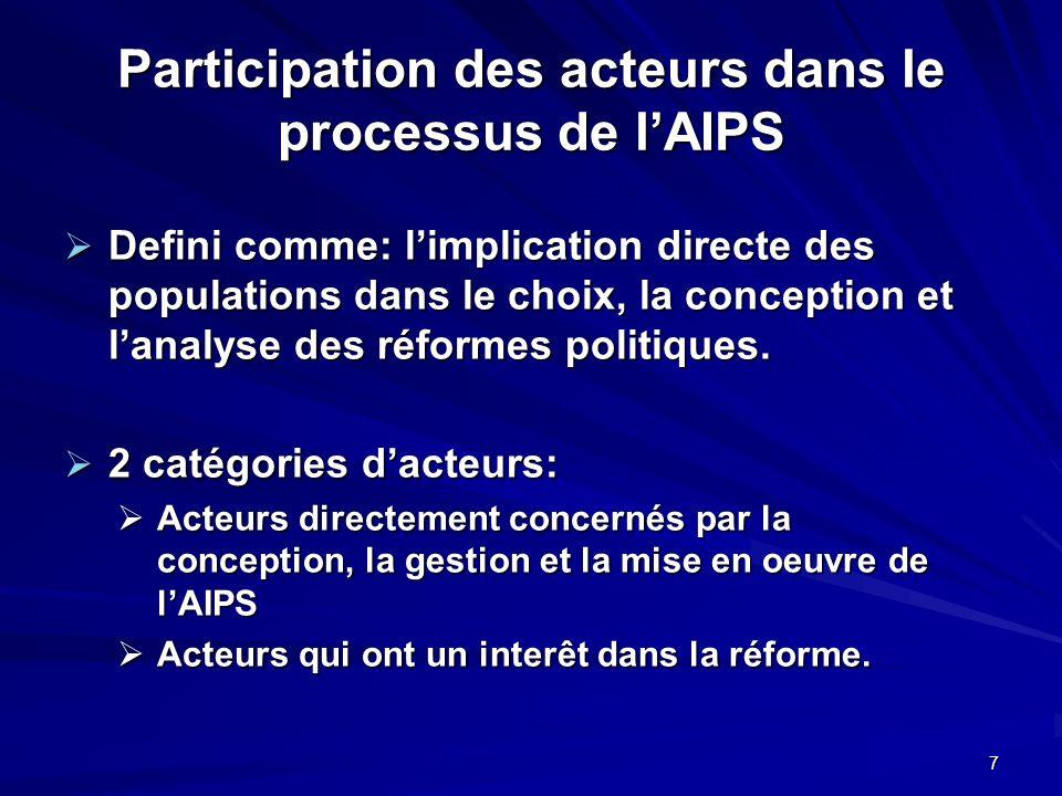 7 Participation des acteurs dans le processus de lAIPS Defini comme: limplication directe des populations dans le choix, la conception et lanalyse des