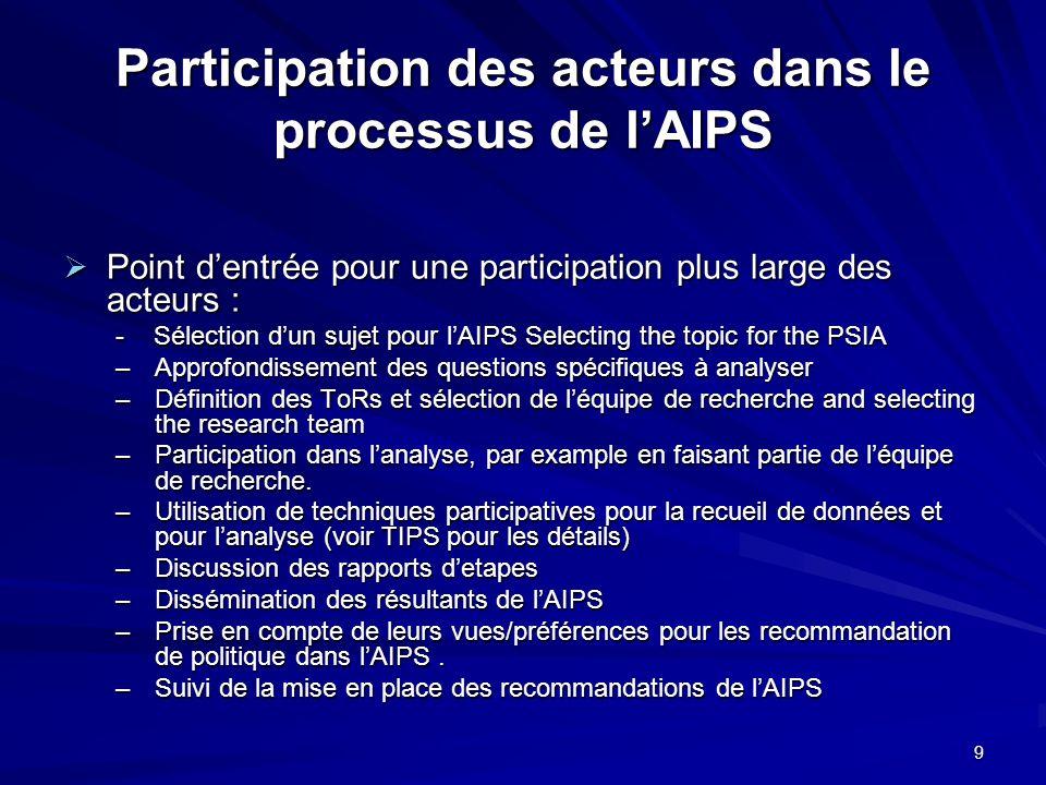 9 Participation des acteurs dans le processus de lAIPS Point dentrée pour une participation plus large des acteurs : Point dentrée pour une participat