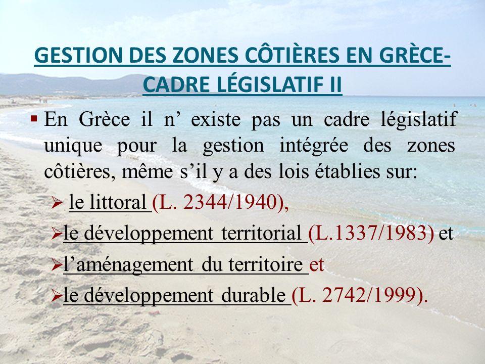 GESTION DES ZONES CÔTIÈRES EN GRÈCE- CADRE LÉGISLATIF II En Grèce il n existe pas un cadre législatif unique pour la gestion intégrée des zones côtièr
