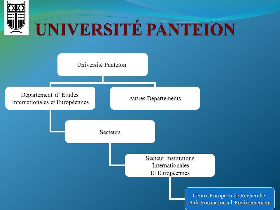 Université Panteion Département d Études Internationales et Européennes Secteurs SecteurInstitutions Secteur Institutions Internationales Internationa