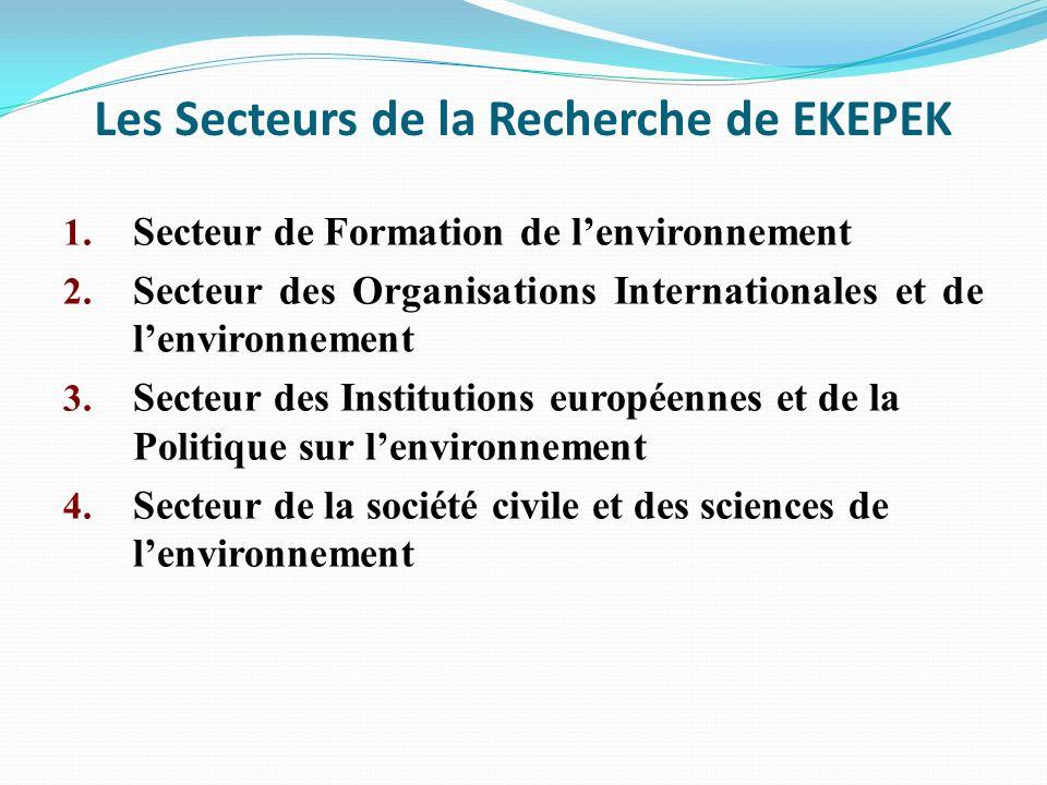 Les Secteurs de la Recherche de EKEPEK 1. Secteur de Formation de lenvironnement 2. Secteur des Organisations Internationales et de lenvironnement 3.