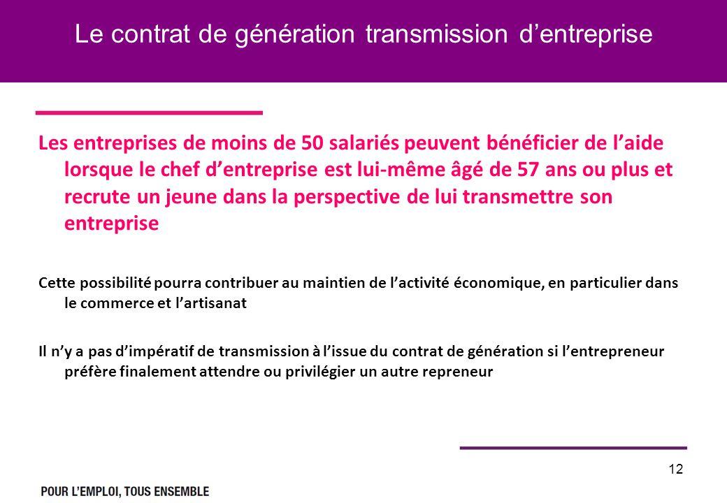 Le contrat de génération transmission dentreprise Les entreprises de moins de 50 salariés peuvent bénéficier de laide lorsque le chef dentreprise est