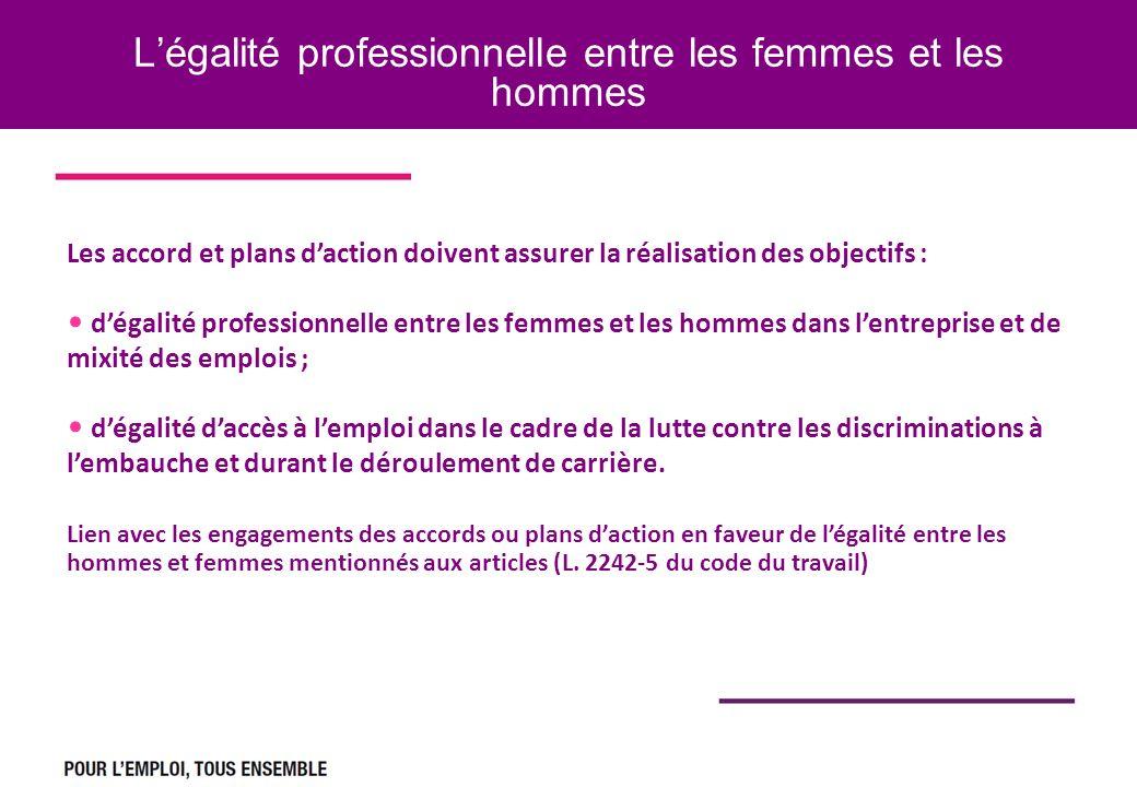 Légalité professionnelle entre les femmes et les hommes Le dépôt des accords et plans daction Les accord et plans daction doivent assurer la réalisati